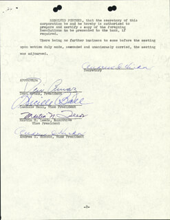 LUCILLE LUCY BALL - CORPORATE MINUTES SIGNED 07/02/1956 CO-SIGNED BY: MARTIN N. LEEDS, ANDREW G. HICKOX, DESI ARNAZ SR.