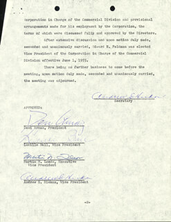 LUCILLE LUCY BALL - CORPORATE MINUTES SIGNED 05/04/1955 CO-SIGNED BY: MARTIN N. LEEDS, ANDREW G. HICKOX, DESI ARNAZ SR.