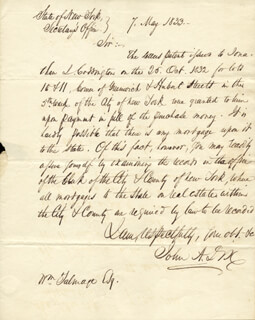 Autographs: MAJOR GENERAL JOHN A. DIX - AUTOGRAPH LETTER SIGNED 05/07/1833