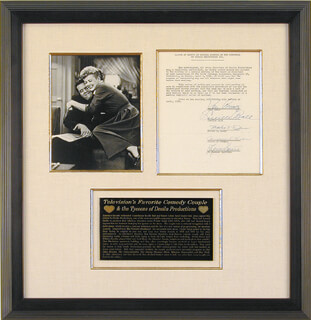LUCILLE LUCY BALL - DOCUMENT SIGNED 04/02/1956 CO-SIGNED BY: MARTIN N. LEEDS, ANDREW G. HICKOX, W. SPENCER HARRISON, DESI ARNAZ SR.
