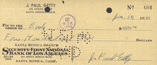J. PAUL GETTY - CHECK SIGNED & ENDORSED 01/24/1948