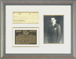 J. PAUL GETTY - AUTOGRAPHED SIGNED CHECK 01/27/1948