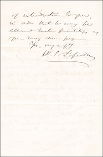 Autographs: WILLIAM P. FESSENDEN - AUTOGRAPH LETTER SIGNED 03/12/1856