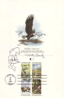 WALTER LANTZ - COMMEMORATIVE SHEET WITH FIRST DAY CANCELLATION