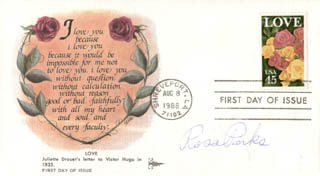 ROSA PARKS - FIRST DAY COVER SIGNED