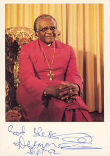 BISHOP DESMOND TUTU - AUTOGRAPHED SIGNED PHOTOGRAPH 09/1992