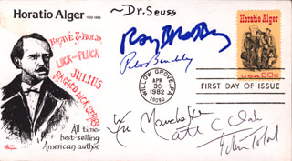 THEODOR DR. SEUSS GEISEL - FIRST DAY COVER SIGNED CO-SIGNED BY: WILLIAM R. MANCHESTER, PETER BENCHLEY, SIR ARTHUR C. CLARKE, RAY BRADBURY, JOHN W. TOLAND