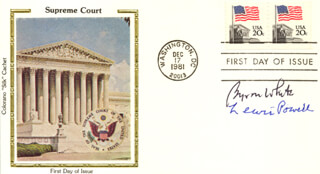 ASSOCIATE JUSTICE BYRON R. WHITE - FIRST DAY COVER SIGNED CO-SIGNED BY: ASSOCIATE JUSTICE LEWIS F. POWELL JR.