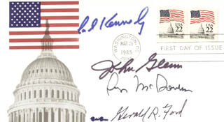 PRESIDENT GERALD R. FORD - FIRST DAY COVER SIGNED CO-SIGNED BY: JOHN GLENN, EDWARD TED KENNEDY, GEORGE MCGOVERN