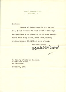 DANIEL C. BEARD - TYPED LETTER SIGNED 11/06/1928