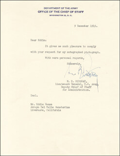 GENERAL MATTHEW B. RIDGWAY - TYPED LETTER SIGNED 12/09/1949