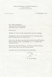 BRIGADIER GENERAL JAMES H. JIMMY DOOLITTLE - TYPED LETTER SIGNED 09/27/1961