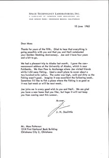 BRIGADIER GENERAL JAMES H. JIMMY DOOLITTLE - TYPED LETTER SIGNED 06/10/1963