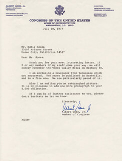 Autographs: VICE PRESIDENT ALBERT GORE JR. - TYPED LETTER SIGNED 07/18/1977