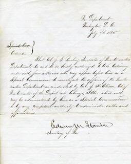 EDWIN M. STANTON - MANUSCRIPT DOCUMENT SIGNED 07/07/1865