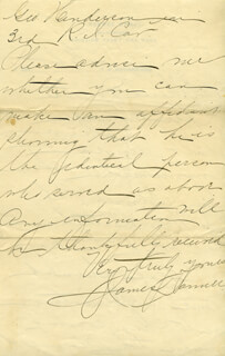JAMES R. TANNER - AUTOGRAPH LETTER SIGNED 02/05/1896