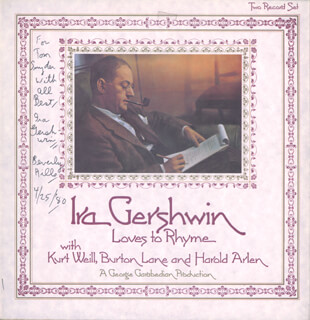 IRA GERSHWIN - INSCRIBED RECORD ALBUM SIGNED 04/25/1980