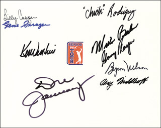 BYRON NELSON - AUTOGRAPH CO-SIGNED BY: GENE SARAZEN, BILLY CASPER, CARY MIDDLECOFF, KEN VENTURI, MILLER BARBER, DON JANUARY, GARY PLAYER, CHI CHI (JUAN) RODRIGUEZ