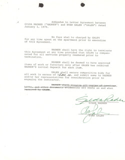 GILDA RADNER - DOCUMENT SIGNED CIRCA 1979 CO-SIGNED BY: EVAN GALEN