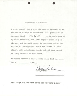OZZIE NELSON - DOCUMENT SIGNED 07/02/1973