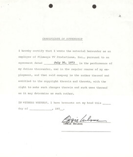 OZZIE NELSON - DOCUMENT SIGNED 07/20/1973