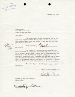 ROCK HUDSON - DOCUMENT DOUBLE SIGNED 01/05/1962 CO-SIGNED BY: CHRISTOPHER ALLAN