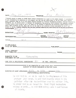 Autographs: ROBERT BOB CUMMINGS - DOCUMENT DOUBLE SIGNED 05/22/1982
