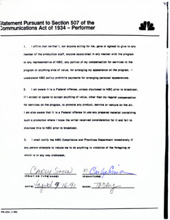 CARLY SIMON - DOCUMENT SIGNED 09/16/1991