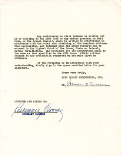 ROSEMARY CLOONEY - DOCUMENT SIGNED 02/19/1953