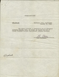 ABBOTT & COSTELLO (LOU COSTELLO) - DOCUMENT SIGNED 01/29/1946