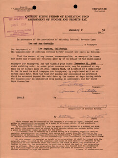 ABBOTT & COSTELLO (LOU COSTELLO) - DOCUMENT SIGNED 01/02/1954 CO-SIGNED BY: ANNE (MRS. LOU) COSTELLO
