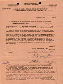 ABBOTT & COSTELLO (LOU COSTELLO) - DOCUMENT SIGNED 12/13/1954