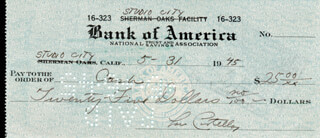 ABBOTT & COSTELLO (LOU COSTELLO) - AUTOGRAPHED SIGNED CHECK 05/31/1945