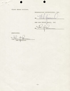 NEIL DIAMOND - CONTRACT SIGNED CO-SIGNED BY: TOM CATALANO
