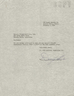 DANNY THOMAS - DOCUMENT SIGNED 11/01/1954