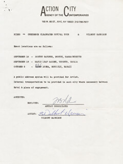 WILBERT HARRISON - CONTRACT SIGNED CIRCA 1970