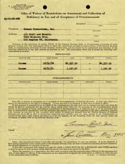 ABBOTT & COSTELLO (LOU COSTELLO) - DOCUMENT SIGNED 01/31/1955