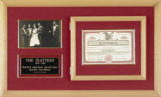 THE PLATTERS - STOCK CERTIFICATE SIGNED 02/29/1956 CO-SIGNED BY: THE PLATTERS (BUCK RAM), THE PLATTERS (ZOLA MAE TAYLOR), BENNETT J. CRAVITZ