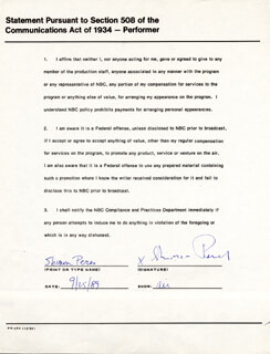 PRIME MINISTER SHIMON PERES - DOCUMENT SIGNED 09/25/1989