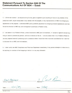 CARL REINER - DOCUMENT SIGNED 02/21/1989
