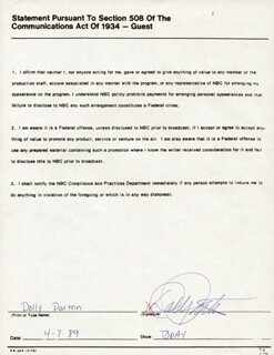 DOLLY PARTON - DOCUMENT SIGNED 04/07/1989