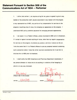 FAY WRAY - DOCUMENT SIGNED 02/20/1989