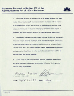 MARTIN SCORSESE - DOCUMENT SIGNED 09/24/1990
