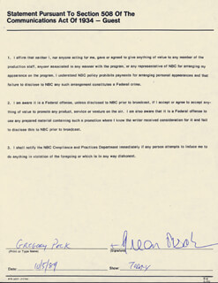GREGORY PECK - DOCUMENT SIGNED 10/05/1989