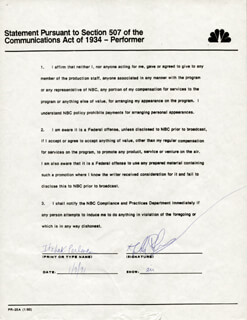 ITZHAK PERLMAN - DOCUMENT SIGNED 01/09/1991