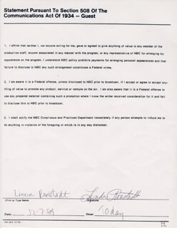 LINDA RONSTADT - DOCUMENT SIGNED 12/07/1989