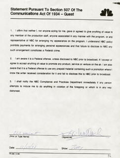 ELI WALLACH - DOCUMENT SIGNED 12/24/1990