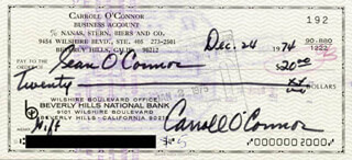 CARROLL O'CONNOR - AUTOGRAPHED SIGNED CHECK 12/24/1974