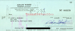 ADAM WEST - AUTOGRAPHED SIGNED CHECK 05/20/1981