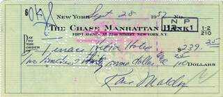 KARL MALDEN - AUTOGRAPHED SIGNED CHECK 09/28/1952